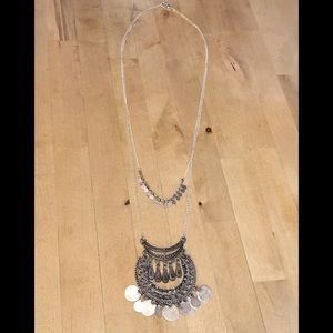 EXPRESS long double-layer silvertone necklace NWOT